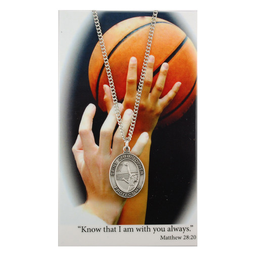 """Basketball-Boys Pewter Sport Medals on a  24""""-36"""" black adjustable leather  cord. Laminated prayer card comes with the pendant."""