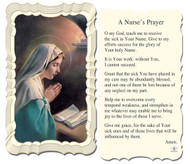 Paper Holy Card with Praying Mary on front and the Prayer for Nurses on the back.