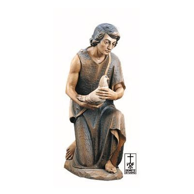 "Nativity Set 1902 - Elegant wood-carved Kneeling Shepherd with Bird carved in Linden Wood or Cast in Fiberglass. Ranging from 2 to 5 feet tall.  Available Sizes: 24"", 30"", 36"", 48"", 60"""