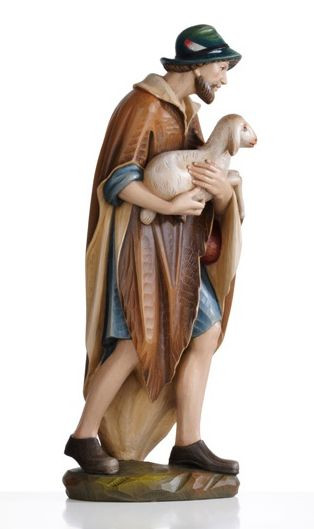 """Nativity Set 1902 - Elegant wood-carved Shepherd with Lamb carved in Linden Wood or Cast in Fiberglass. Ranging from 2 to 5 feet tall.  Available Sizes: 24"""", 30"""", 36"""", 48"""", 60"""""""