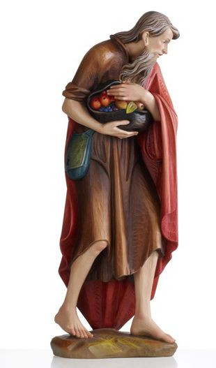 """Nativity Set 1902 - Elegant wood-carved Shepherd bearing Fruit carved in Linden Wood or Cast in Fiberglass. Ranging from 2 to 5 feet tall.  Available Sizes: 24"""", 30"""", 36"""", 48"""", 60"""""""