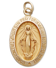 This beautifully-crafted 14k gold pendant features the Virgin Mary and makes the perfect communion or confirmation gift. Approximate length: 3/4 inch. (Photo is enlarged)