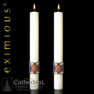 "The Lilium candles are 51% beeswax.  Paschal altar candles are a masterpiece of ecclesiastical design and skilled artistic craftsmanship.""Lilium,""™ is a dramatic expression of spiritual adoration, gloriously presented with rich colors of royal blue and gold. These altar candles complement Paschal Candle ""Lilium""."