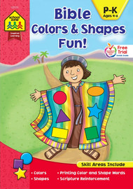 "Children will love learning about colors and shapes with the help of pictures from the Old and New Testaments! This Bible Colors & Shapes Fun! workbook helps children learn to identify colors and write color words. It also offers a variety of activities that introduce the names and characteristics of seven basic shapes. Plus, each page cross-references scripture and shares teachings from the Bible that will remind children of God's love and faithfulness. For example, one page uses drawings of faces to illustrate circles, and says, ""Proverbs 15:13 tells us that a happy heart makes a cheerful face."" It then directs little learners to trace each shape and color the picture. At the bottom of the page it also reminds: ""Look around at all of God's goodness."" This is a wonderful workbook for parents, Sunday school teachers, and home and Christian educators. Ages 4-6. 32 Puzzles, 8.5""W x 11""H."