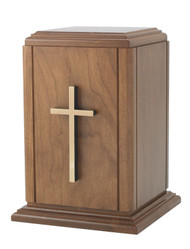 Memorial Urn - Wood Box with Cross. Minimum capacity of 200 cubic inches. Height: 10 1/4""