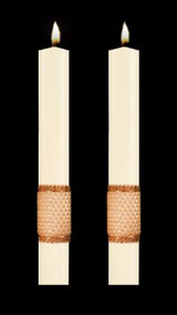 Enhance the presence of your Holy Cross of San Damiano Paschal Candle with a pair of beautiful complementing 51% Beeswax Altar Candles. Available in a variety of lengths and widths. Made in the USA!!