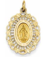 "This beautifully-detailed 14k gold pendant features the Virgin Mary.  This medal makes the perfect communion, or confirmation gift. Approximate length: 3/4"" x 1/2"". 18"" Gold Chain sold separately Item #68-4118"