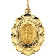 "This beautifully-crafted 14k gold scalloped edge pendant features the Virgin Mary.  This medal makes the perfect gift for any occasion~communion or confirmation. Approximate length: 3/4 inch. 18"" Gold Chain sold separately Item #68-4118"
