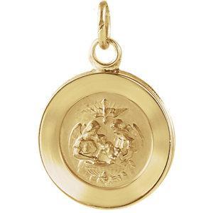 "14K Gold 1/2"" Round Baptismal Pendant Medal. Gold Chain sold separately Item #68-4118."