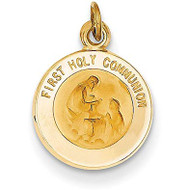 "If you are looking for a great keepsake for your child to celebrate and remember their First Communion, this 14K gold pendant is the perfect choice. The beautiful gold pendant is intricately detailed.   This 14K gold pendant includes the words ""First Holy Communion"" and an image in the center.  The pendant is ¾ inches, making it the perfect size.  This gold pendant makes a perfect gift for your child's First Communion. Add this gold pendant to your own chain or 14K gold chain sold separately Item #68-4118."