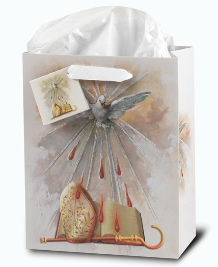"""Glossy Confirmation Holy Spirit Gift Bags  come in two sizes and contain tissue paper!  Small 3 3/4""""W x 5""""H x 2""""D or Large 9 3/4""""H x 7 3/4""""W ox 4""""D"""