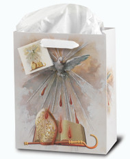 "Glossy Confirmation Holy Spirit Gift Bags come in two sizes large and small. Both bags come with tissue paper! dimensions:  Small Bag:  3 3/4""W x 5""H x 2""D or Large Bag:  9 3/4""H x 7 3/4""W ox 4""D"