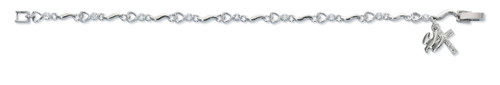 """7"""" Bracelet with Clear  Cubic Zirconia Crystals.  Rhodium Plated Holy Spirit and Crucifix Charms. Deluxe Gift Box Included"""