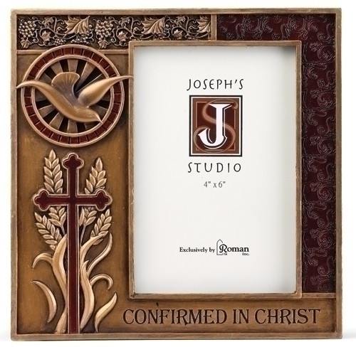 """Confirmed in Christ Collection. 7.5""""H 7.38""""W 0.5""""D Picture Frame ~ Resin/Stone mix with Bronze Finish. See also Wall Cross (#130072) and Keepsake Box (130073)"""