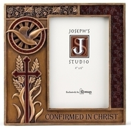 "Confirmed in Christ Collection. 7.5""H 7.38""W 0.5""D Picture Frame ~ Resin/Stone mix with Bronze Finish. See also Wall Cross (#130072) and Keepsake Box (130073)"