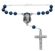 St Michael Auto Rosary with silver oxidesed blue enameled Policeman Centerpiece and silver oxidised Crucifix.