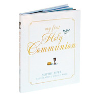 "This beautiful keepsake book for First  Holy Communion is designed with a fill-in page to commemorate the child's First Holy Communion, and space for a photo. My First Holy Communion book contains prayers on the themes of praising God, remembering baptism, coming to confession, taking part in Holy Communion, and living a Christian life. In  My First Holy Communion, Sophie Piper provides a treasure of opportunities to gain and appreciate a deeper understanding of the Eucharist.  Poetry and prayer are her tools.  Softly rendered illustrations by Angelo Ruta accompany pieces such as ""The Right Path"", ""Each New Day"", and ""Faith, Hope and Love"".  The 32-page hardcover book measures 5-3/4 inches by 7 inches.  Give this elegantly rendered book as a gift for a first Holy Communion.  Make sure to utilize the First Holy Communion highlights page to personalize this lovely gift."