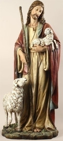 "Good Shepherd 36.5 inch Statue. Materials: Resin/Stone Mix. Dimensions: 36.5""H x 18""W x 15""D"