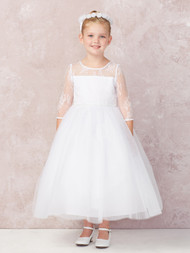 This ankle length communion dress has 3/4 sleeves and illusion neckline of soft lace. Communion Dress is made with a tulle skirt