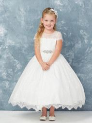 This Communion Dress is made of all lace and has an Illusion Neckline. The dress comes with a removable rhinestone sash.