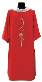 Special! Buy 4 and get 5th FREE~any color combination. Dalmatic & Stole with Chi-Rho Symbol Embroidered. Available in all liturgical colors including: White, Red, Green, Rose & Purple. Please specify color when ordering. Matching Chasubles & Overlays are also available (1205C & 1205OL). These items are imported from Europe. Please supply your Institution's Federal ID # as to avoid an import tax. Please allow 3-4 weeks for delivery if item is not in stock