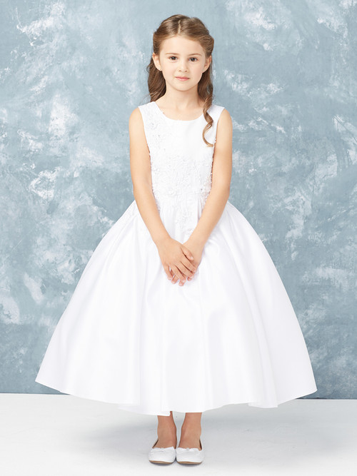 This satin communion dress is ankle length and has lace applique.