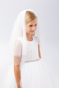 Communion Veil with Clear Seed and Cylinder Beads
