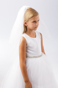 A communion veil with a simple corded edge.