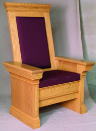"Celebrant Chair with upholstered cushion seat and back. Inside bookrack on each side of the seat cushion. 34""W x 30""D x 52""H."