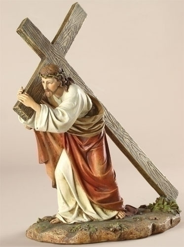 """Way of the Cross 11""""H Figure. Materials: Resin/Stone Mix. Dimensions: 11"""" H x 8.5"""" W x 4.75"""" D"""