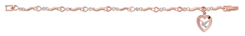 """7.5"""" Copper Heart with Crystal Stone Bracelet. The bracelet has a two tone rose gold plated Holy Spirit pewter medal. Bracelet comes boxed."""