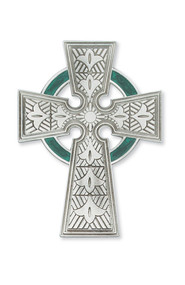 """4 3/4""""H Celtic Cross with green enameling. Celtic Cross comes gift boxed"""