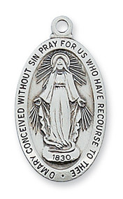 """1"""" x  9/16""""  Sterling Silver Miraculous Medal. Medal comes on an 18"""" rhodium  chain. Miraculous Medal comes in a deluxe gift box."""