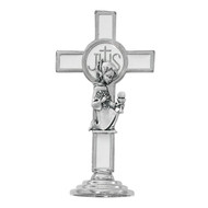 "This First Communion 3 1/4""H kneeling girl cross figurine is silver oxidised with white enamel. Figure comes in a see through box and is made in Italy"