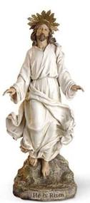"Risen Christ Figure. Resin/Stone Mix. 12""H x 5.25""W x 3.5""D. "" He is Risen."""