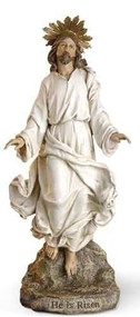 "Joseph Studio Risen Christ Figure. Materials: Resin/Stone Mix. Dimensions: 12""H x 5.25""W x 3.5""D. "" He is Risen."""
