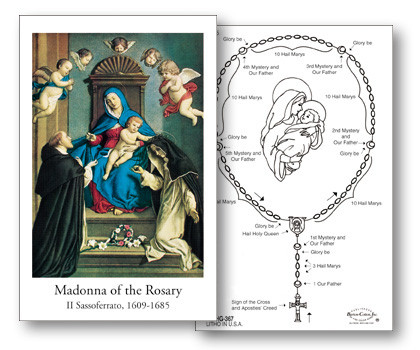 "How to Prayer the Rosary holy card measures 2 3/4"" x 4 1/4"". Small enough to fit in a wallet or purse for personal use.  Instructions preprinted on back. Bulk pricing available."