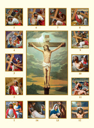 "Large size Stations of the Cross Holy Cards. Cards measure 4.5"" x 6 1/8"". The stations are in text on the back  of the Holy Card in English or Spanish"