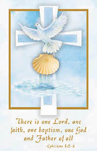 """Cards measure 2 3/4"""" x 4 1/4"""".  100 per box (Gold Ink) """"There is one Lord, one faith, one baptism, one God adn Father of all."""" Matching Certificate (XR500) and Bulletin TB531) Available"""