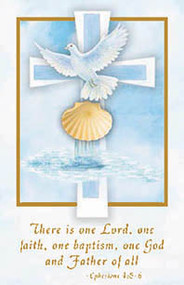 "Cards measure 2 3/4"" x 4 1/4"".  100 per box (Gold Ink) ""There is one Lord, one faith, one baptism, one God adn Father of all."" Matching Certificate (XR500) and Bulletin TB531) Available"