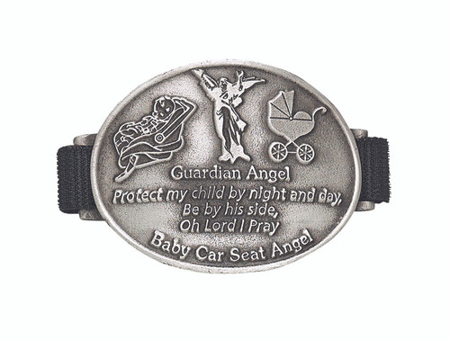 "Guardian Angel Lead  Free Baby Car Seat Medal With Prayer. Medal attaches to a stroller, crib, cradle or car seat. Written on medal: ""Guardian Angel, Protect my child by night and day,  be by their side, Oh Lord I pray"""
