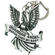 "Guardian Angel Lead Free Clip on Baby Stroller Medal With Prayer. Medal attaches to a stroller, crib, cradle or car seat. Written on medal: ""Guardian Angel, Watch Over My Baby"""