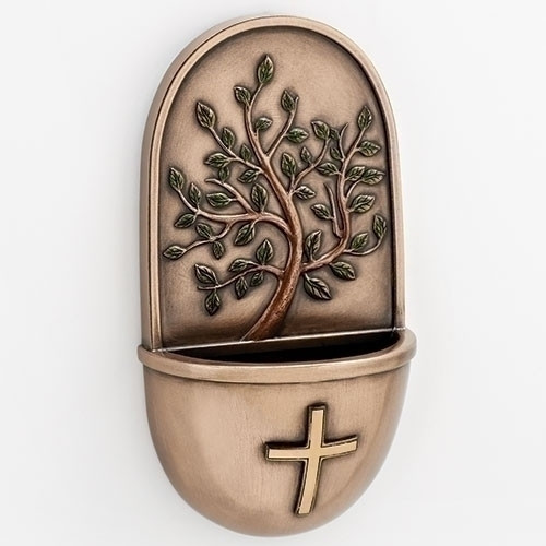 """6""""H Tree of Life Holy Water Font. Made of a resin stone mix."""