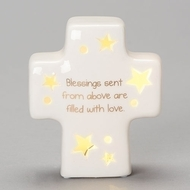 """4.25"""" LED Porcelain Table Top Cross from the Sweet Dreams Collection.  """"Blessings sent from above are filled with love."""" is written on front of cross. Perfect for a Baby shower gift or pair it up with another item from the Sweet Dreams Collection."""