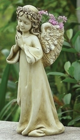 "16"" ""Praying Angel Garden Planter"" Angel Planter is 16""H x 7"" W x 9""D. The Praying angel Planter is made of a resin/stone mix. A beautiful addition to any inside or outside garden!!"