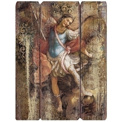 """This beautiful 15""""H three panel plaque of St. Michael is made of medium density fiberboard. The St. Michael Plaque measures 15""""H x 12""""W x 2.2""""D."""
