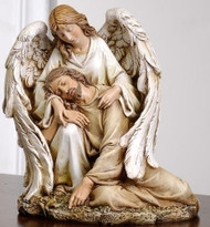 "Angel with the Fallen Christ Figure. Material: Resin/Stone Mix. Dimensions: 7""H x 6.25""W x 5.75""D"