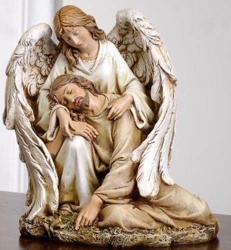 """Angel with the Fallen Christ Figure. Material: Resin/Stone Mix. Dimensions: 7""""H x 6.25""""W x 5.75""""D"""
