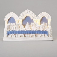 "12.25""L LED Della Robbia Last Supper Figure.  This Della Robbia Last Supper table top figure is made of a dolomite/resin mix. The LED Last Supper plaque measures 12.25""L x 7.5""H."