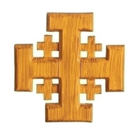 "6""H wood look Jerusalem Cross. Made of resin/dolomite material"